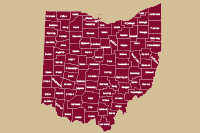 Image of a county map of the state of Ohio